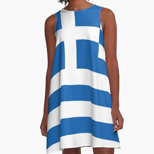 Greek Flag Mini Skirt A-Line Dress