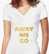Away We Go in Gold Women's Fitted V-Neck T-Shirt