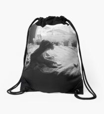 Willow on bed Drawstring Bag