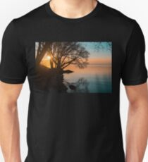 Teal and Orange Morning Tranquility With Rocks and Willows T-Shirt
