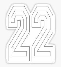 22, TEAM, SPORTS, NUMBER 22, TWENTY, TWO, Twenty Second, Competition, WHITE  Sticker