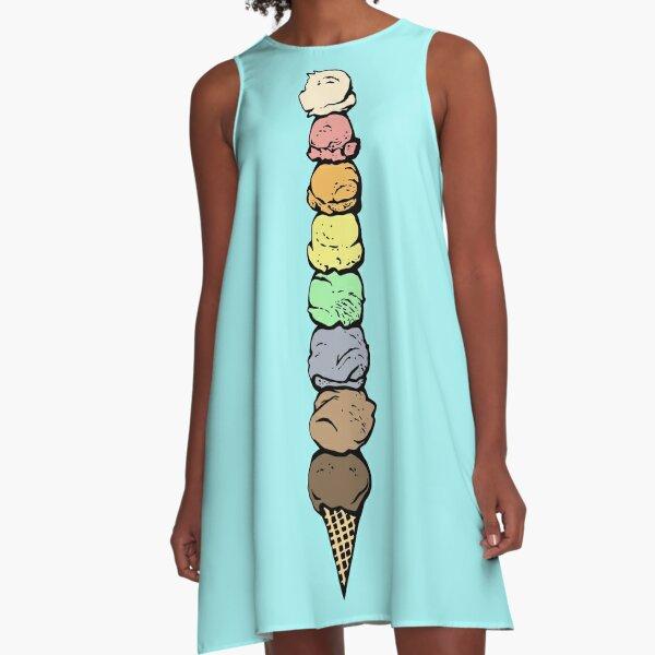 Giant Rainbow Ice Cream Cone - Single A-Line Dress