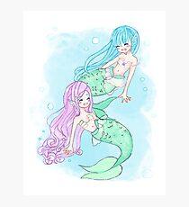 Kawaii Happy Mermaids Photographic Print