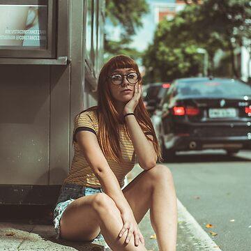 Girl sits at the roadside by JustusHochmund