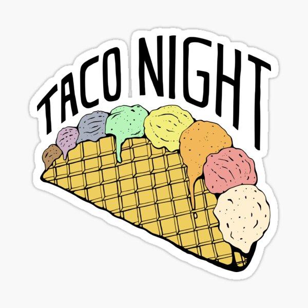 Rainbow Ice Cream Taco Night Sticker