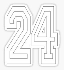 24, TEAM, SPORTS, NUMBER 24, TWENTY, FOUR, Competition, WHITE on BLACK Sticker