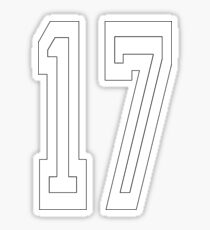 17, TEAM SPORTS, NUMBER 17, SEVENTEEN, SEVENTEENTH, ONE, SEVEN, Competition, WHITE ON BLACK Sticker