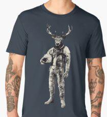 Psychedelic Deer Astronaut (Vintage Effect) Men's Premium T-Shirt