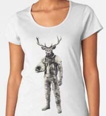 Psychedelic Deer Astronaut (Vintage Effect) Women's Premium T-Shirt