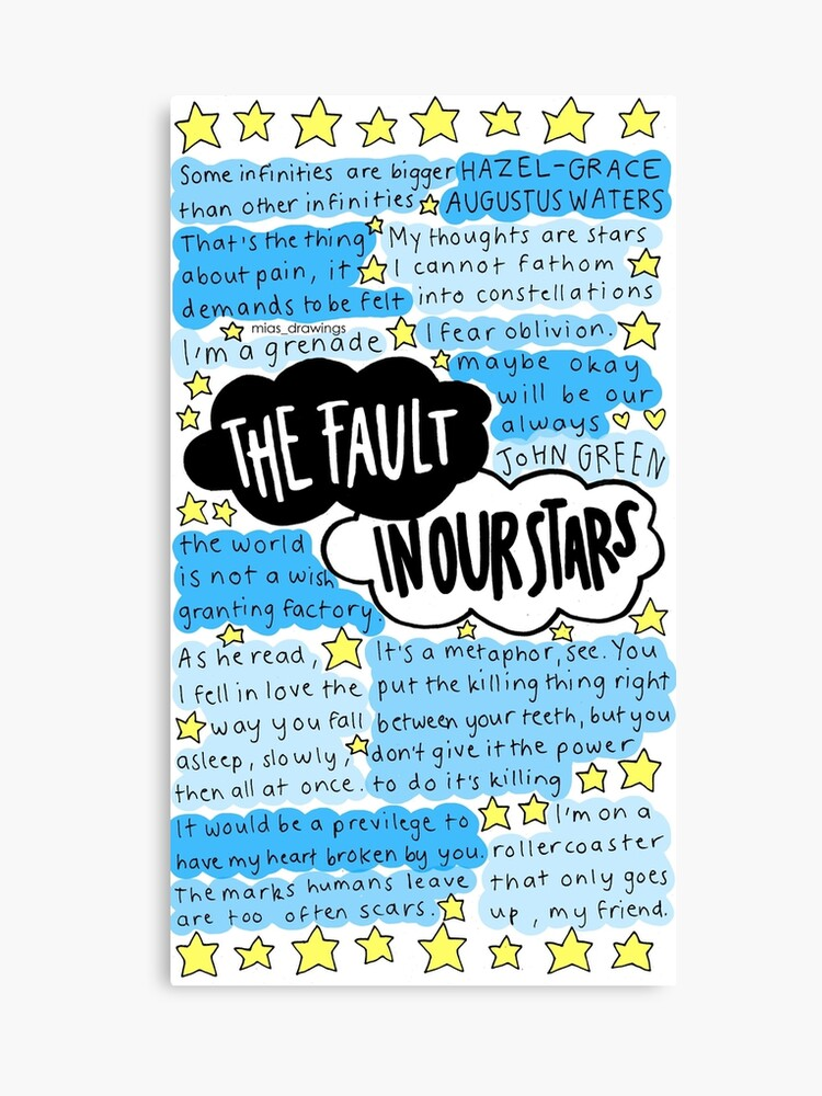 The Fault In Our Stars Quotes Collage Canvas Print By Miasdrawings