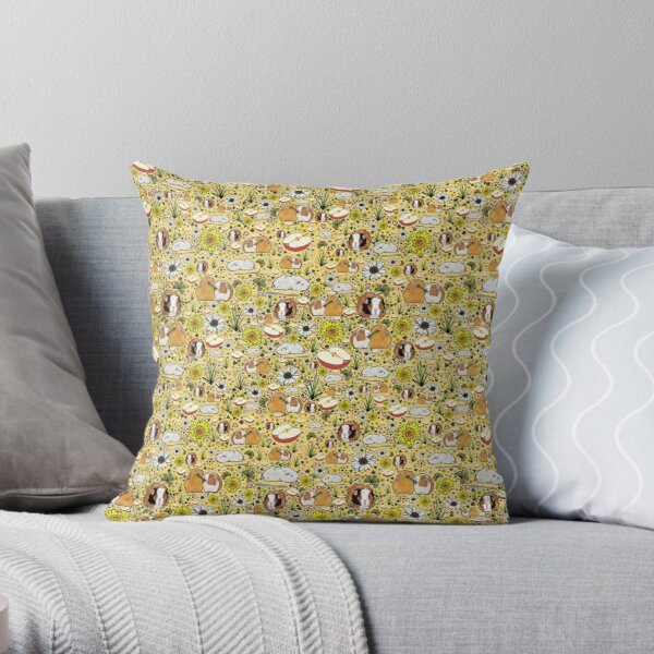 Guinea Pigs in Yellow Throw Pillow
