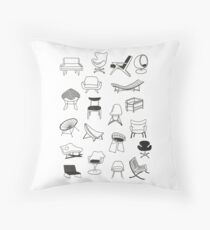 Mid Century Modern Chair Collection Throw Pillow