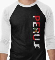 Peru Llama T-shirt Peruvian Soccer Tee Men's Baseball ¾ T-Shirt
