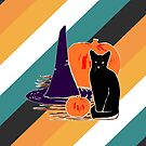 Witch Cat Pumpkin Woodcut Halloween Design with Candy Corn Stripes by melasdesign