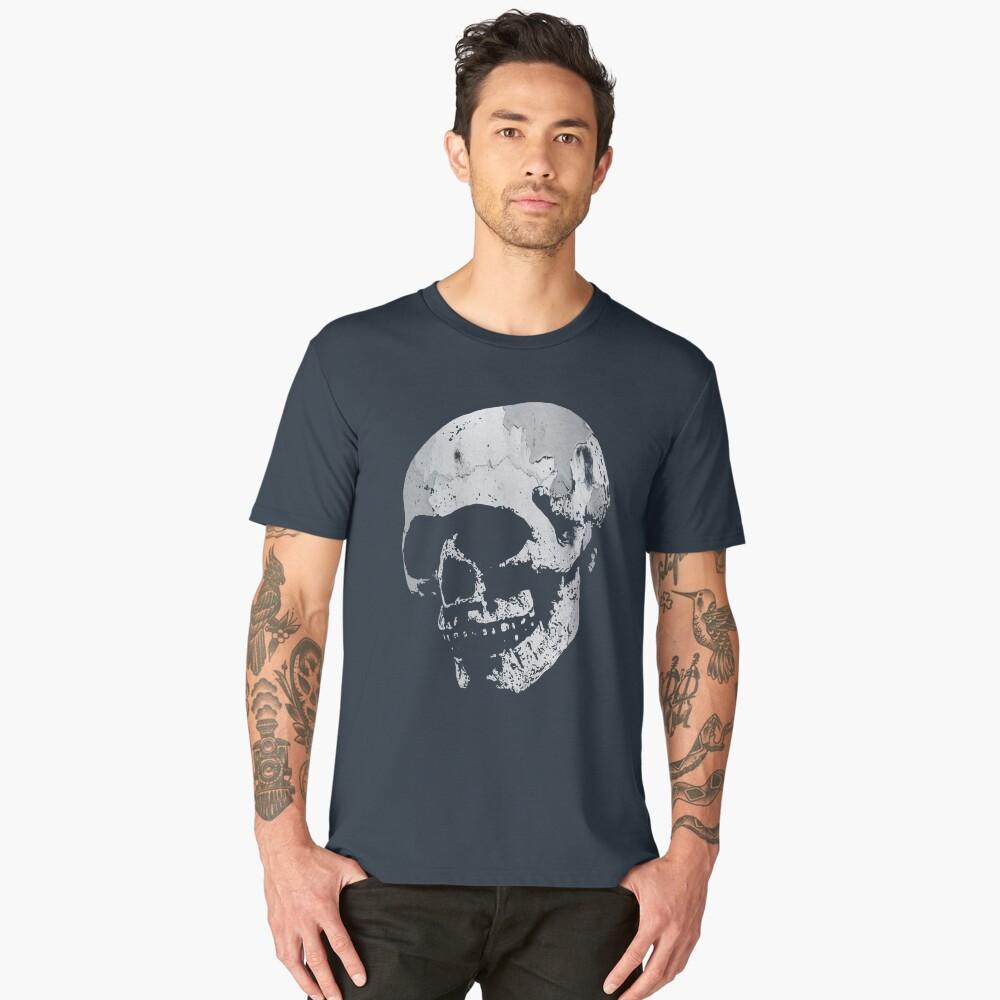Skull - Cool Grunge Texture Skull Men's Premium T-Shirt Front
