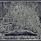 Blueprint Map of Amsterdam circa 1727 by Glimmersmith