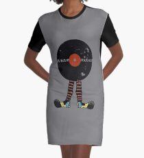 Funny Vinyl Records Lover - Grunge Vinyl Record Graphic T-Shirt Dress