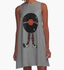 Funny Vinyl Records Lover - Grunge Vinyl Record A-Line Dress