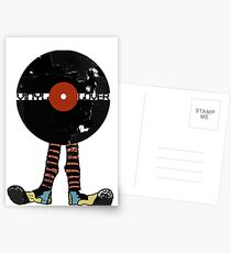 Funny Vinyl Records Lover - Grunge Vinyl Record Postcards