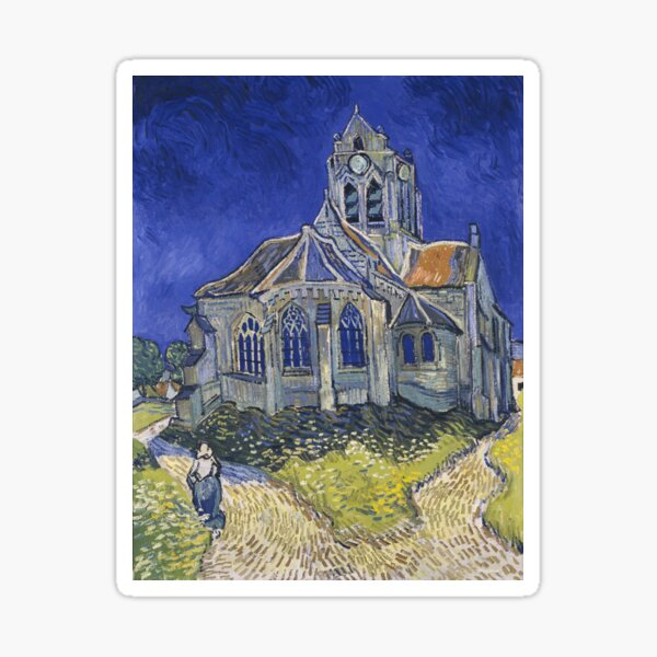 Vincent Van Gogh, The church in Auvers-sur-Oise Sticker