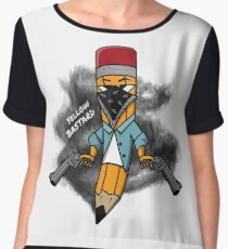 Gangsta pencil with guns illustration. Yellow bastard pen with bandana mask on face, criminal t-shirt print. Funny cowboy west texas pin. Women's Chiffon Top