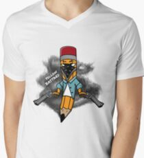 Gangsta pencil with guns illustration. Yellow bastard pen with bandana mask on face, criminal t-shirt print. Funny cowboy west texas pin. T-Shirt