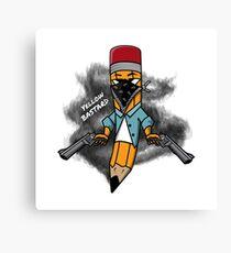Gangsta pencil with guns illustration. Yellow bastard pen with bandana mask on face, criminal t-shirt print. Funny cowboy west texas pin. Canvas Print