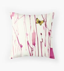 Hand painted abstract stem with realistic butterfly by Yuki24 Throw Pillow