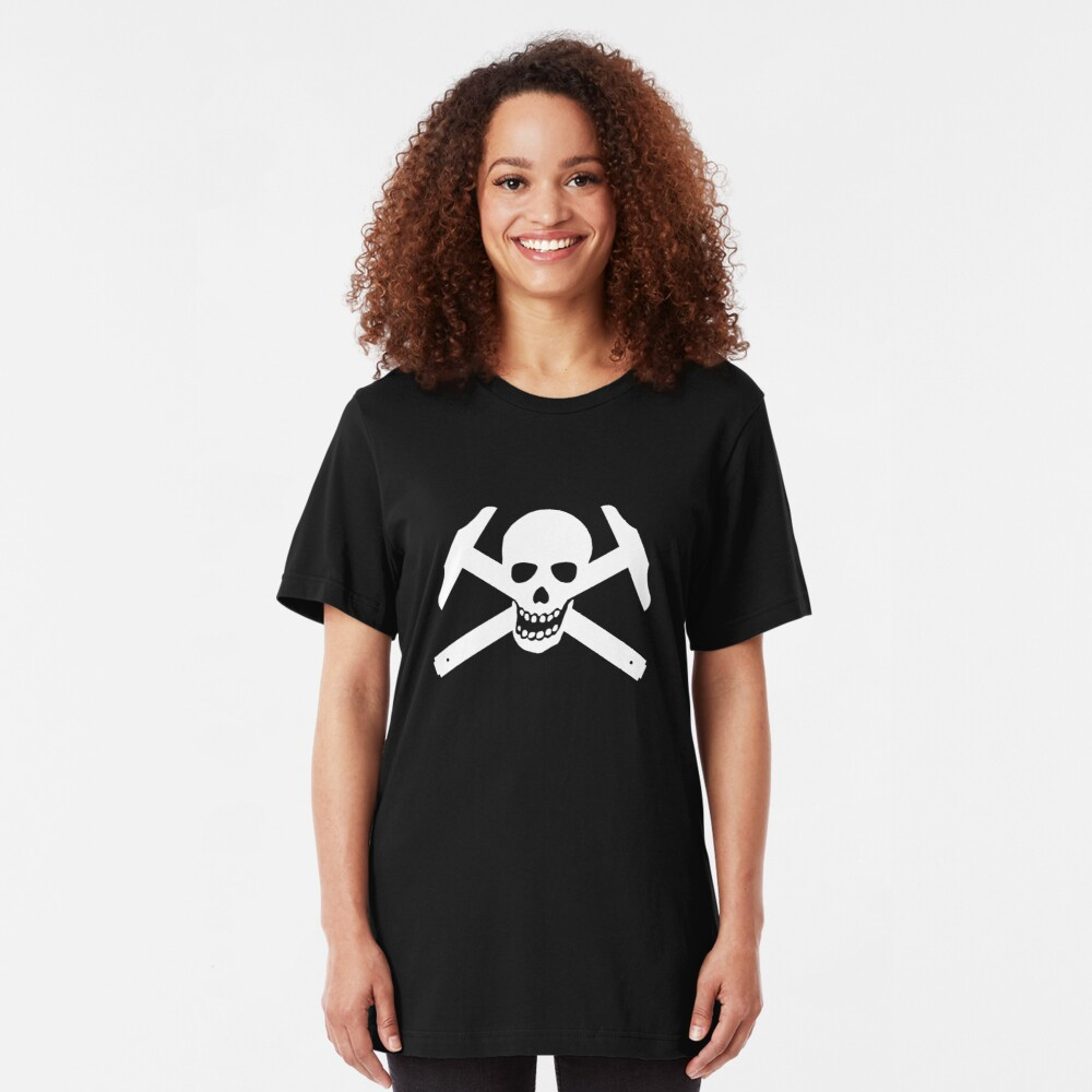 Architectural Jolly Rogers - White image Slim Fit T-Shirt