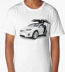 White 2017 Tesla Model X luxury SUV electric car with open falcon-wing doors art photo print Long T-Shirt