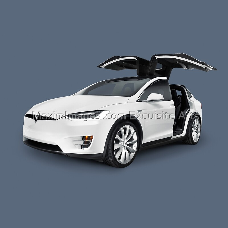 white 2017 tesla model x luxury suv electric car with open falcon wing doors art photo print. Black Bedroom Furniture Sets. Home Design Ideas
