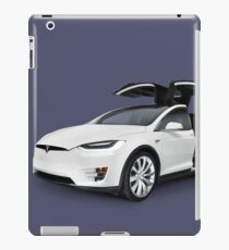 White 2017 Tesla Model X luxury SUV electric car with open falcon-wing doors art photo print iPad Case/Skin