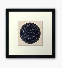 Antique Map of the Night Sky, 19th century astronomy Framed Print