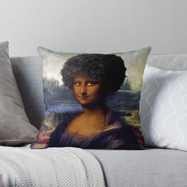 Black Mona Lisa Throw Pillow