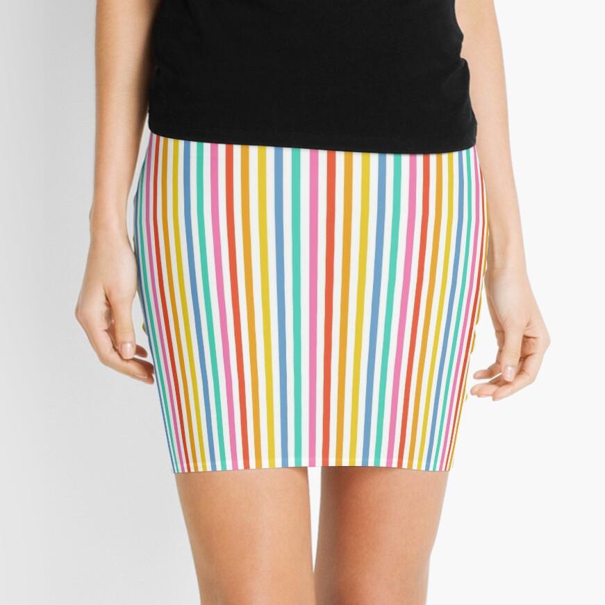 Party Stripe Pattern Mini Skirt