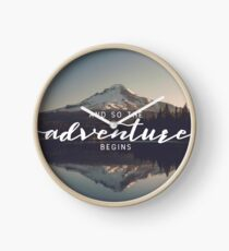 And So The Adventure Begins - Woods Trees Forest Mountain Wall Decor Clock