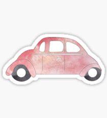 Old Bug Car Light Pink Sticker
