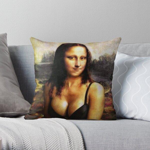 Mona Lisa in a Bikini Throw Pillow