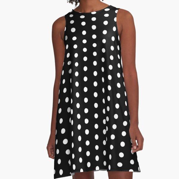 Black with White Polka Dots Dress A-Line Dress