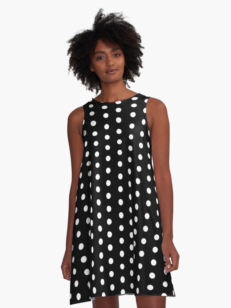 Schwarzes Kleid Mit Weissen Punkten A Linien Kleid Von Stickersandtees Redbubble