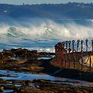 Waves over the Canoe Pool - Newcastle Beach NSW by Bev Woodman