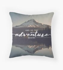 And So The Adventure Begins - Woods Trees Forest Mountain Wall Decor Throw Pillow