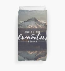 And So The Adventure Begins - Woods Trees Forest Mountain Wall Decor Duvet Cover