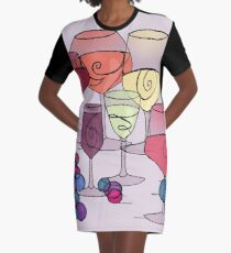 Wine and Grapes v2 Graphic T-Shirt Dress