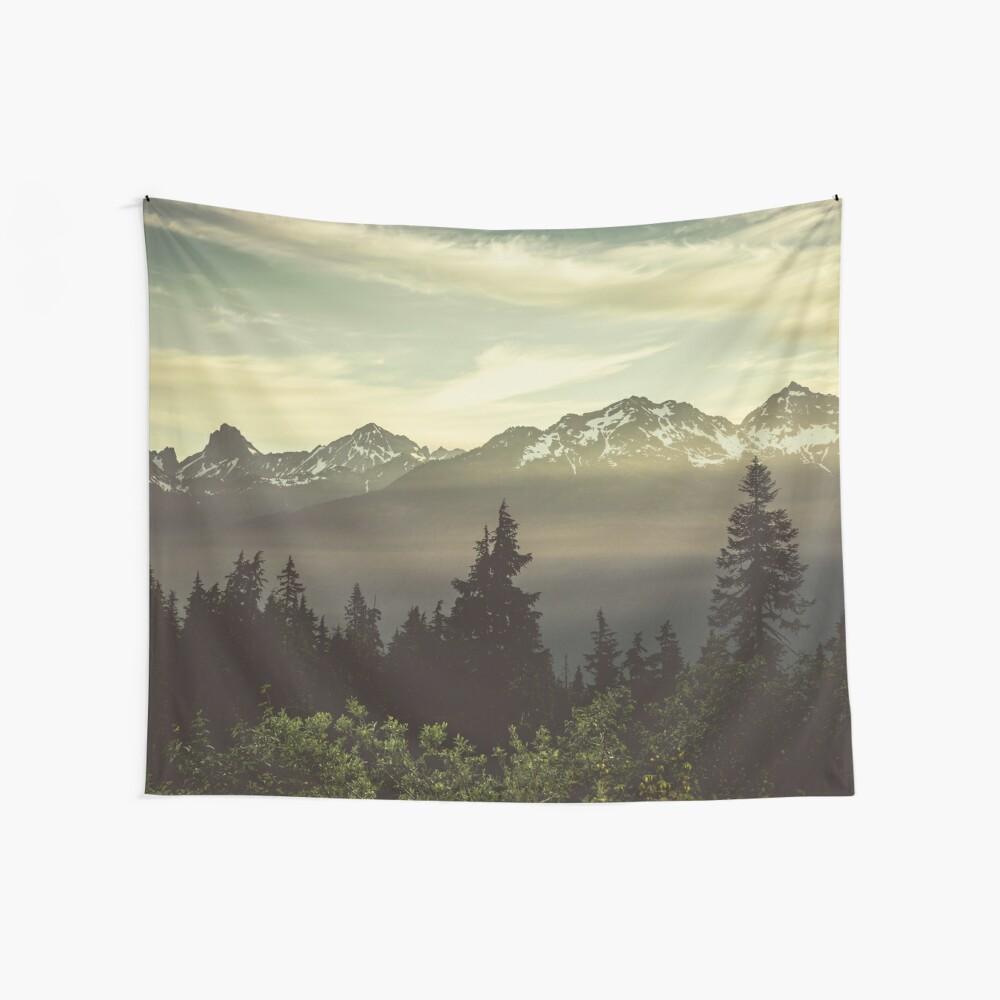 Pazifischer Nordwestsonnenaufgang - Nordkaskaden-Gebirgswald Wandbehang