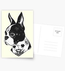 Tätowierter Boston Terrier Postkarten