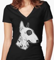 Tattooed Bullterrier Women's Fitted V-Neck T-Shirt