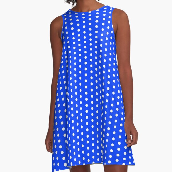 Blue Dress with White Polka Dots, A-Line, Pencil Skirt and More A-Line Dress