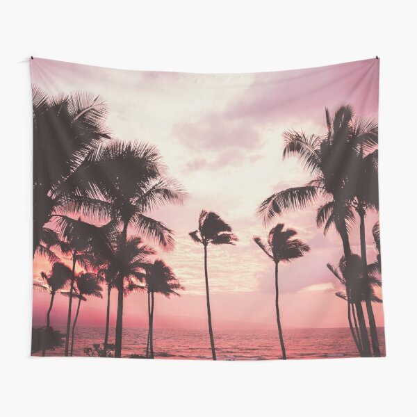 Pink Palm Paradise Tapestry