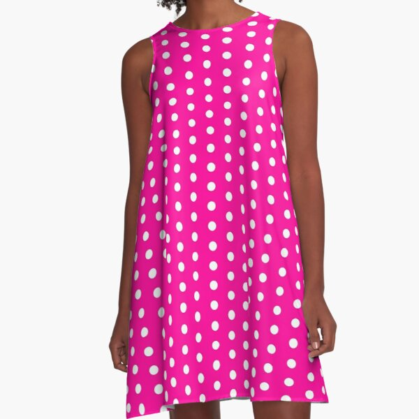 Pink A-Line Dress with White Polka Dots Also Mini Skirt A-Line Dress